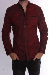 Pánska elastická košeľa vzorovaná s čiernym lemom (20138) - červená