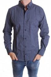 Pánska elastická košeľa vzorovaná - tmavomodrá