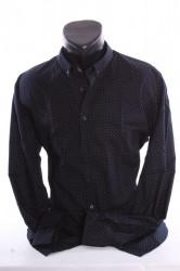 Pánska elastická košeľa vzorovaná VZOR 04. - tmavomodrá P379