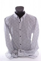 Pánska elastická košeľa vzorovaná VZOR 05. - biela P379