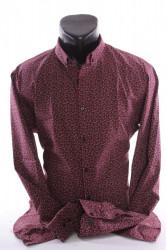 Pánska elastická košeľa vzorovaná VZOR 07. - bordová P379