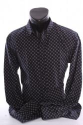 Pánska elastická košeľa vzorovaná VZOR 08. - čierna P379