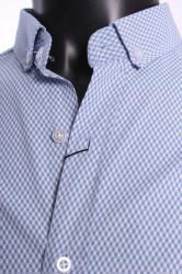 Pánska elastická vzorovaná košeľa LAMARDO - bledomodro-biela #1