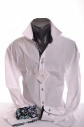 Pánska košeľa - biela so zeleno-čiernym lemom P17 - CLASSIC