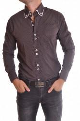Pánska košeľa bodkovaná s bielym lemovaním - tmavohnedá SLIM FIT
