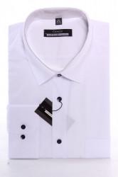 Pánska košeľa CENZO CLASSIC s čiernymi gombíkmi - biela (v. 176-182 cm)
