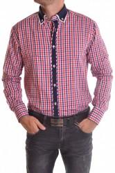 Pánska košeľa kockovaná s bielym lemovaním - farebná SLIM FIT