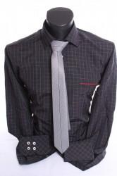 07160b7a3ed3 Pánska košeľa kockovaná s kravatou - tmavosivo-biela