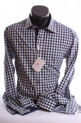 Pánska košeľa kockovaná SLIM (188-194 cm) -tmavomodro-biela