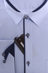 Pánska košeľa MARTEX s tmavomodrým lemom - bledomodrá #1
