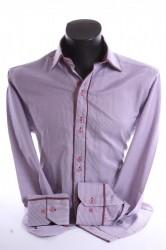 Pánska košeľa pásikavá s bordovým lemom SLIM FIT - bordovo-biela