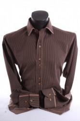 Pánska košeľa pásikavá s hnedým lemom SLIM FIT - hnedo-čierna