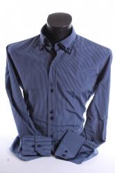 Pánska košeľa pásikavá s tmavomodrým lemom - modrá