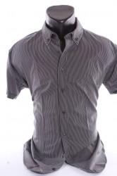 Pánska košeľa pásikavá - tmavosivá
