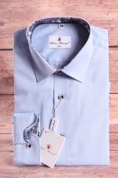 Pánska košeľa PIETRO MONTI CLASSIC-s modrohnedým lem.-bledomodrá s dlhým r. (v. 176-182 cm