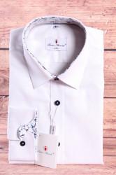 Pánska košeľa PIETRO MONTI SLIM - s kvetinovým lemom - biela s dlhým rukávom (v. 188-194 c