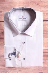 Pánska košeľa PIETRO MONTI SLIM - s modro-hnedým lemom - biela s dlhým ruk. (v. 188-194 cm