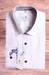 Pánska košeľa PIETRO MONTI SLIM - s modrým lemom - biela s dlhým ruk. (v. 188-194 cm