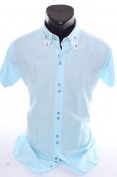 Pánska košeľa s bielym lemovaním (SLIM FIT) - bledotyrkysová
