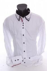 Pánska košeľa s dlhým rukávom a tmavomodrým lemovaním  SLIM FIT - biela