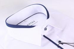 Pánska košeľa s krátkym rukávom a tmavomodrým lemom MARTEX SLIM LINE - biela #1