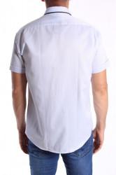 Pánska košeľa s krátkym rukávom, s čiernym lemom - bledomodrá #1