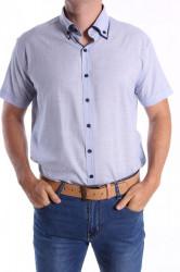 Pánska košeľa s krátkym rukávom, s tmavomodrým lemom SLIM FIT - modrá