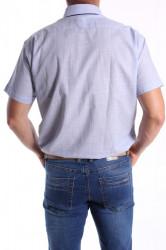 Pánska košeľa s krátkym rukávom, s tmavomodrým lemom SLIM FIT - modrá #1
