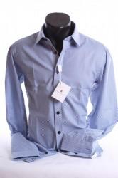 Pánska košeľa s kvetinovou potlačou SLIM (176-182 cm) - modro-biela