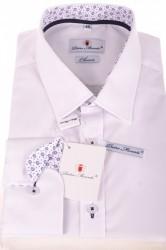 Pánska košeľa s kvetinovým lemovaním - biela (CLASSIC)