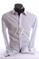 Pánska košeľa s kvetinovým vzorom (SLIM FIT) - biela