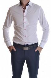 Pánska košeľa s tmavomodrým lemom - biela