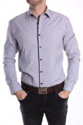 Pánska košeľa s tmavomodrým lemom PIETRO MONTI VZOR 002. SLIM - sivá