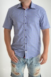 Pánska košeľa SLIM kockovaná modrá s modro-červeným lemom P17
