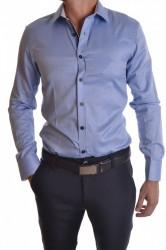 Pánska košeľa vzorovaná s bielomodrým lemom - bledomodrá