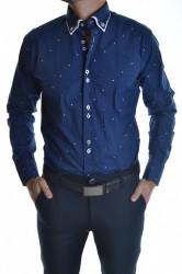 Pánska košeľa vzorovaná s bielym lemovaním - modrá SLIM FIT