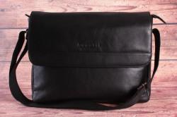 Pánska kožená messenger taška Bugatti 49390401 (36x10x26 cm) - čierna