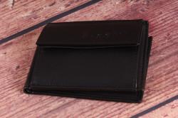 Pánska kožená mini peňaženka Bugatti 49118001 (10x1x7 cm) - čierna