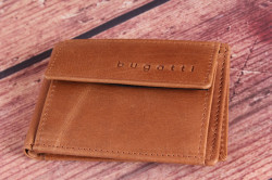 Pánska kožená mini peňaženka Bugatti 49218007 (10x1,5x7 cm) - cognac