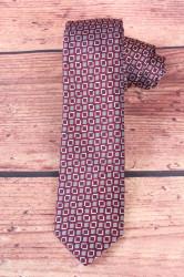 Pánska kravata kockovaná - bielo-bordová  (š. 6 cm)