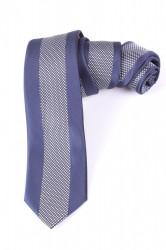 Pánska kravata s bielym vzorom (š. 6 cm) - tmavomodrá