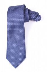 Pánska kravata s bielymi štvorčekmi (š. 7 cm) - modrá