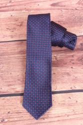Pánska kravata s červeným vzorom - tmavomodrá