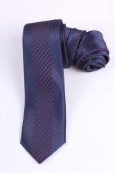 Pánska kravata s červenými bodkami (š. 6 cm) - tmavomodrá