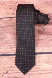 Pánska kravata s hnedými kockami - čierna