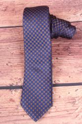 Pánska kravata s hnedými kockami - tmavomodrá 1.