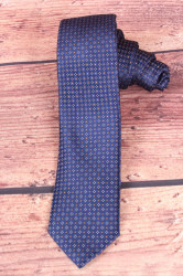 Pánska kravata s hnedými kockami - tmavomodrá 2.