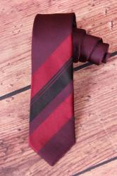 Pánska kravata s pásikmi - vínovo-bordová (š. 5,5 cm)
