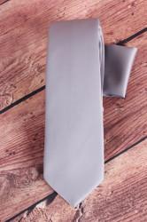 Pánska kravata s vreckovkami (š. 7 cm) - sivá