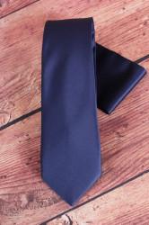 Pánska kravata s vreckovkami (š. 7 cm) - tmavomodrá
